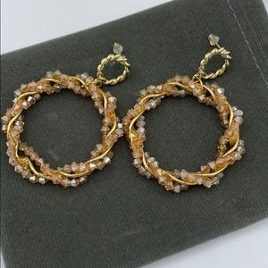 New Iridescent Beaded Hooped w/ Gold Wire Earring